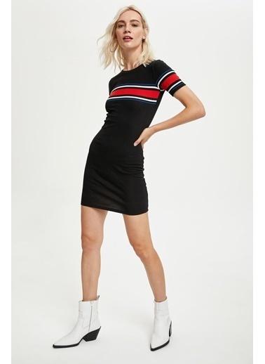 DeFacto Basic Slim Fit Örme Kısa Kollu Tişört Elbise Lacivert